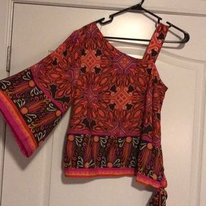 Chico's pink orange one-sleeved blouse, size 0